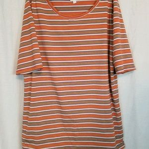 LuLaRoe Multi Color Striped Short Sleeve Top 2XL
